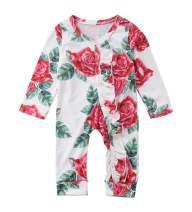 VISGOGO Newborn Baby Girls Kid Rose Flower Bodysuit Romper Jumpsuit Outfits Clothes