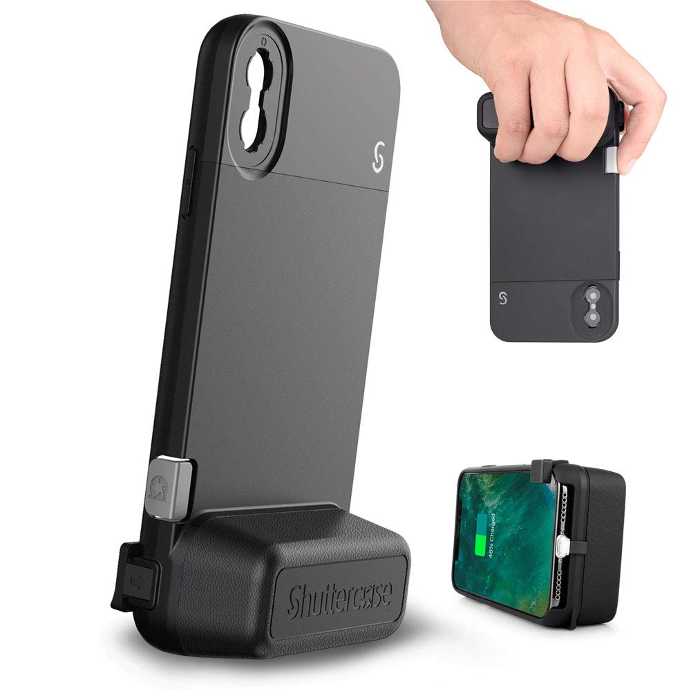 Shuttercase iPhone Xs Max Battery Camera Case - Moment Lens Interface with Mechanical Shutter Button, Replaceable Camera Grip, Embedded 3000mAh Battery and Built-in Stand (iPhone Xs Max, Black)