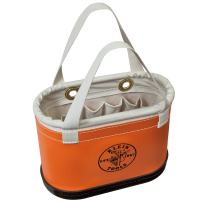 Klein Tools 5144BHHB Hard Body Oval Tool Bucket Made of Non-Conductive Plastic Exterior and Black Molded Polypropylene Bottom, Orange/White