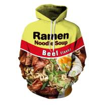 SAENSHING Unisex Couple Hooded Sweatshirt Digital 3D Print Beef Chicken Noddle Soup Sweater Pullover Hoodie Sweatshirt