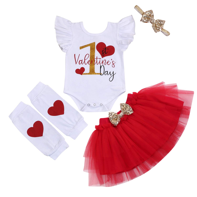 GRNSHTS My First Valentine's Day Outfits Toddler Girl Ruffle Romper+Tutu Skirt+Bowknot Headband+Leg Warmer 4Pcs Clothes