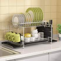 Dish Drying Rack - 1Easylife 2 Tier Large Kitchen Dish Rack with Removable Drainboard, Utensil Holder and Cup Holder, Rustproof Nano Coating Dish Drainer for Kitchen Counter, Dish Dryer Shelf Storage