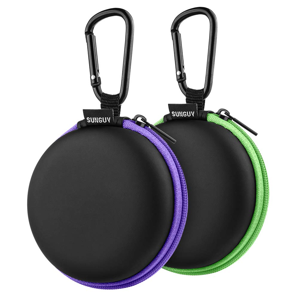 Earbuds Case,SUNGUY [2-Pack] Portable Small Shape Hard EVA Carry Case Storage Bag Carabiner Earphone,Earbuds, Wireless Headset,Wired Headset Mini Case More (Green+Purple)