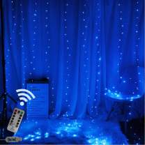 Obrecis Romantic Blue Icicle Curtain Lights 300 LED 8 Modes USB Remote Control Copper Starry String Fairy Lights for Wedding, Party, Proposal, Christmas Decorations Wall-9.8ft x 9.8ft(Blue)