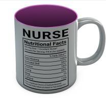 Coffee Mug For Nurse - Funny Nurse Nutritional Facts Mug Gift For Nursing Student, RN, Birthday Christmas Gift for Nurses, Nursing School Gift Graduate Coffee Cup 11 Oz. Pink