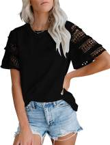 Uincloset Womens Crochet Lace T Shirts Patchwork Short Sleeves Casual Tops Blouse