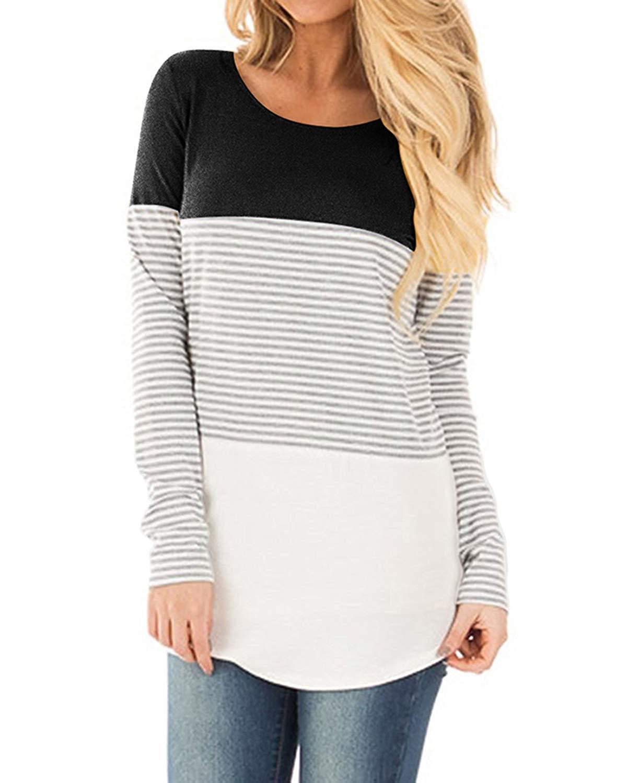 Ajj Women's Long Sleeve Round Neck T Shirt Triple Color Block Stripe Causal Blouses Tops