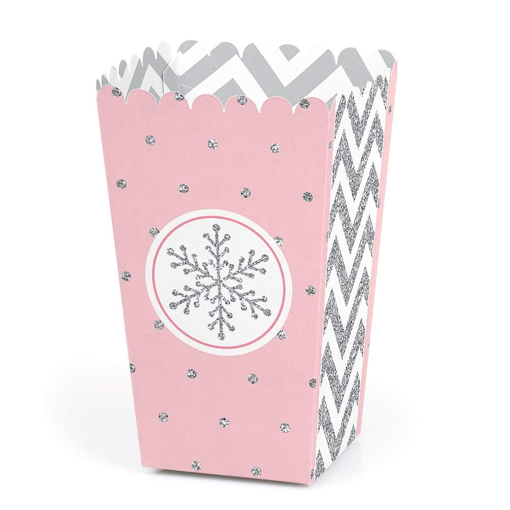 Big Dot of Happiness Pink Winter Wonderland - Holiday Snowflake Birthday Party or Baby Shower Favor Popcorn Treat Boxes - Set of 12