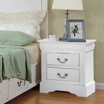 """SSLine Nightstand with 2 Drawers Vintage Wood Bedside End Table Traditional Bedroom Storage Chest Tables w/Retro Drawer Handle -Delivered Fully Assembled (White-22"""" x 16"""" x 24""""H)"""