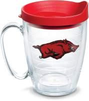 Tervis 1058281 Arkansas Razorbacks Tumbler with Emblem and Red Lid 16oz Mug, Clear