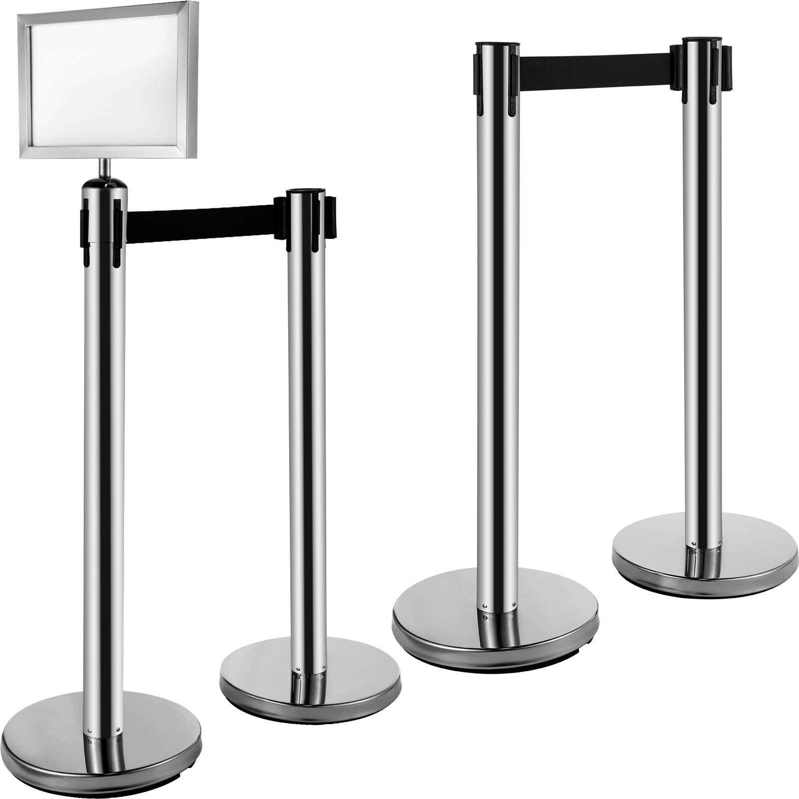 "VEVOR Stanchion Post Barriers 4-Set Line Dividers, Stainless Steel Stanchions with 6.6' Black Retractable Belts, Silver Stanchions with One Sign Frame, 34.6"" Queue Safety Stanchions"