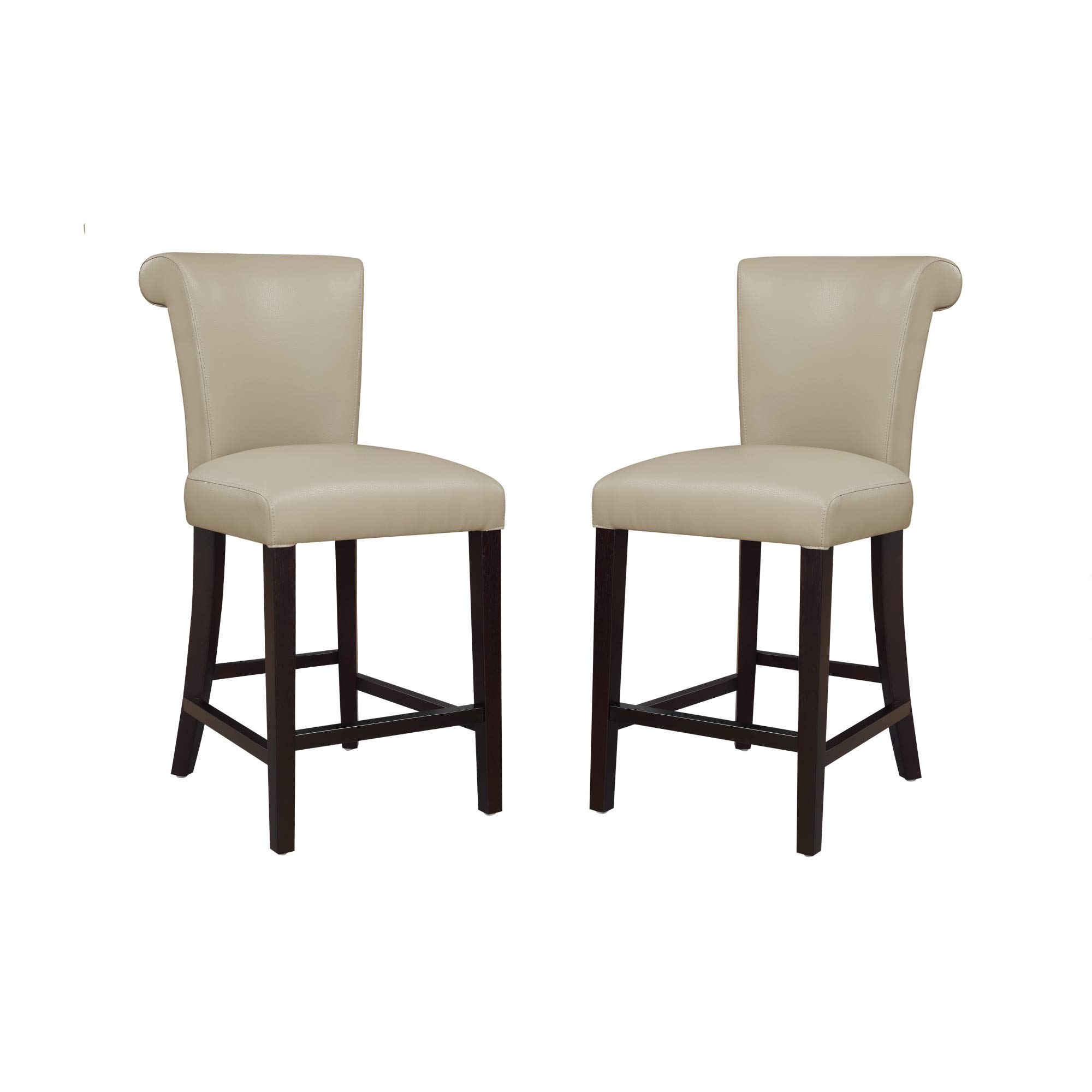 "Livingston III 24"" Bar Stool in Smokey Taupe with Faux Leather Upholstery And Curved Back, Set of Two, by Artum Hill"