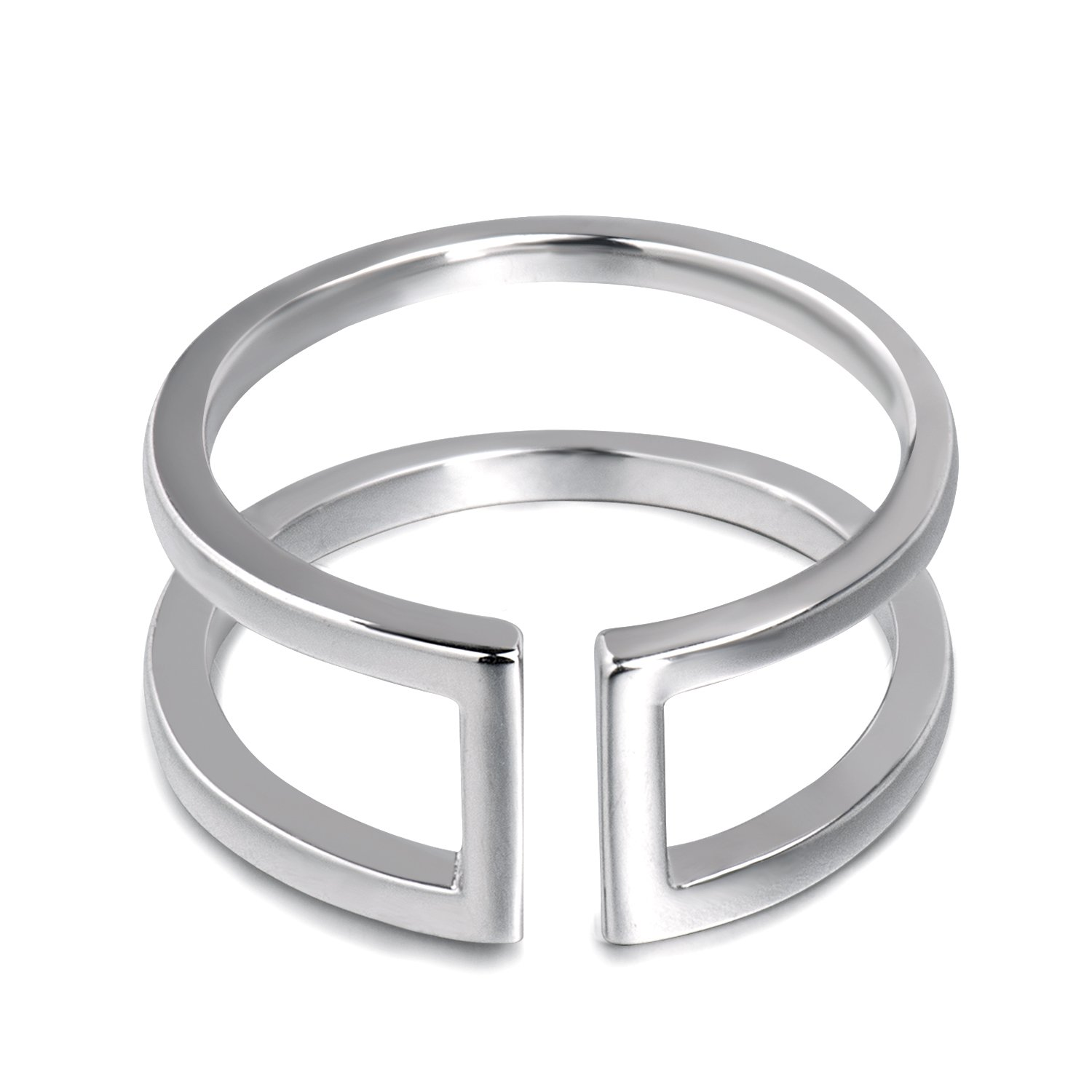 Fonsalette Open Circle Rings Geometric Rings Sterling Silver Double Bar Adjustable Parallel Bar Rings for Women