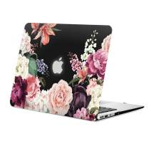 MacBook Air 13 inch Case Floral, Rose Flower Clear Case MacBook Model A1466/A1369, Rubberized Soft-Touch Black See Through Hard Shell Case & Keyboard Cover