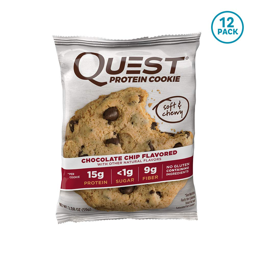 Quest Nutrition Protein Cookie, Chocolate Chip, 2.08 Ounce, Pack of 12