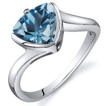 Swiss Blue Topaz Solitaire Ring Sterling Silver Rhodium Nickel Finish Trillion 2.00 Carats Sizes 5 to 9