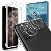 [4 Pack] TOCOL for iPhone 11 Pro (5.8'') 2 Pack Tempered Glass Screen Protector and 2 Pack Tempered Glass Camera Lens Protector HD Clear Bubble Free Case Friendly 9H Hardness