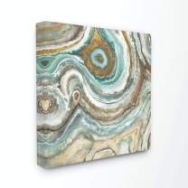 Stupell Home Décor Aqua Geode Stone Oversized Stretched Canvas Wall Art, 24 x 1.5 x 24, Proudly Made in USA