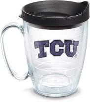Tervis 1056768 TCU Horned Frogs Logo Tumbler with Emblem and Black Lid 16oz Mug, Clear