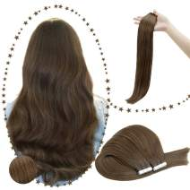 RUNATURE Tape Remy Hair Extensions 24inches Color 5 Medium Brown 40Pcs 100gram Long Human Hair Extensions Skin Weft Extensions Human Extensions Hair Adhesive Hair Extensions