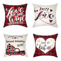 LALIFIT Valentine's Day Pillow Covers red Plaid Buffalo Plaid Love Heart Linen Throw Pillow Cover 18 x 18 Inch for Home Car Sofa Bed Couch Decor (Set of 4)