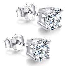White Gold Plated Sterling Silver Cubic Zirconia Stud Earrings 3mm-8mm Options, Simulated Diamond CZ Studs Hypoallergenic Jewelry