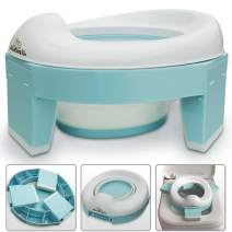 3-in-1 Go Potty for Travel, Portable Folding Compact Toilet Seat,Potty Training Toilet Chairs for Toddler Boys & Girls by BlueSnail (Blue)
