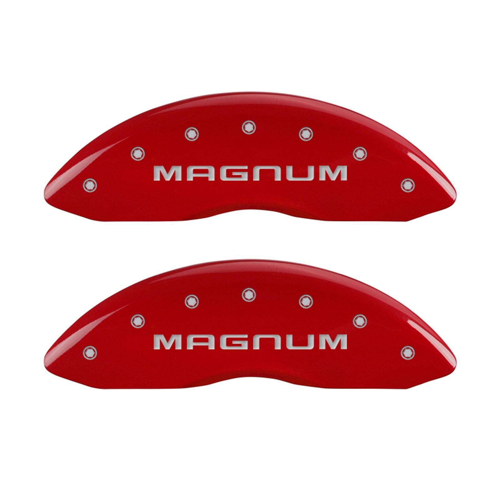 MGP Caliper Covers 12001SMGMRD 'Magnum' Engraved Caliper Cover with Red Powder Coat Finish and Silver Characters, (Set of 4)