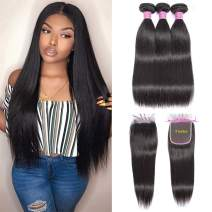 Brazilian Straight Hair Bundles with Closure (18 20 22 with 16 inch) 100% Human Hair 3 Bundles with Closure Straight Hair Free Part Lace Closure and Bundles