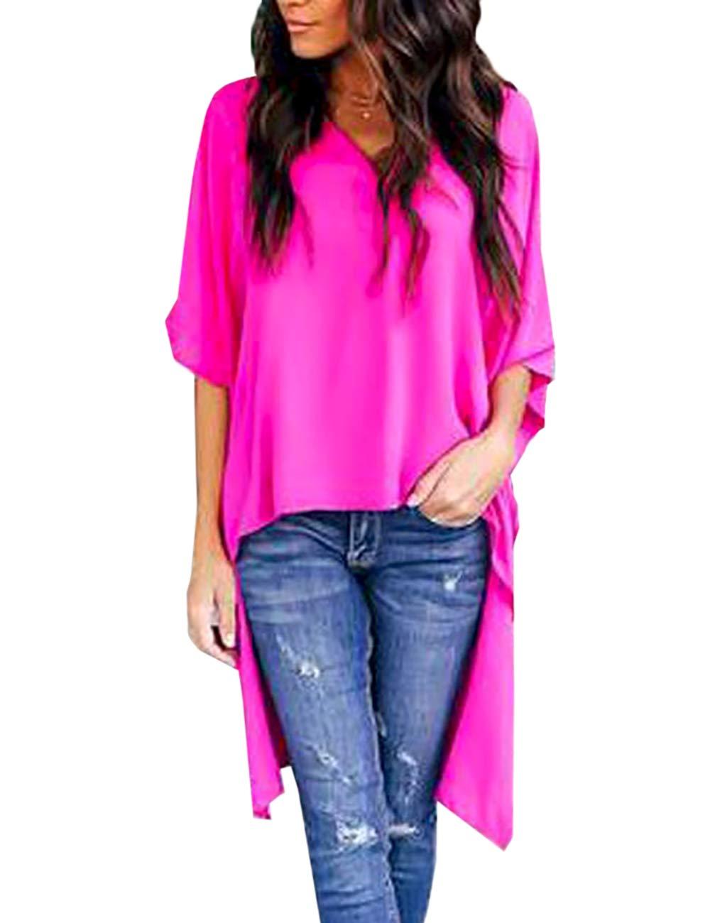 Lrady Women's V-Neck Blouse Chiffon T-Shirt High Low Tunic Tops Casual Shirt Dress