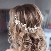 Catery Flower Bride Wedding Headband Silver Crystal Pearl Hair Vine Baby Breath Braid Headpiece Bridal Wedding Hair Accessories for Women and Girls