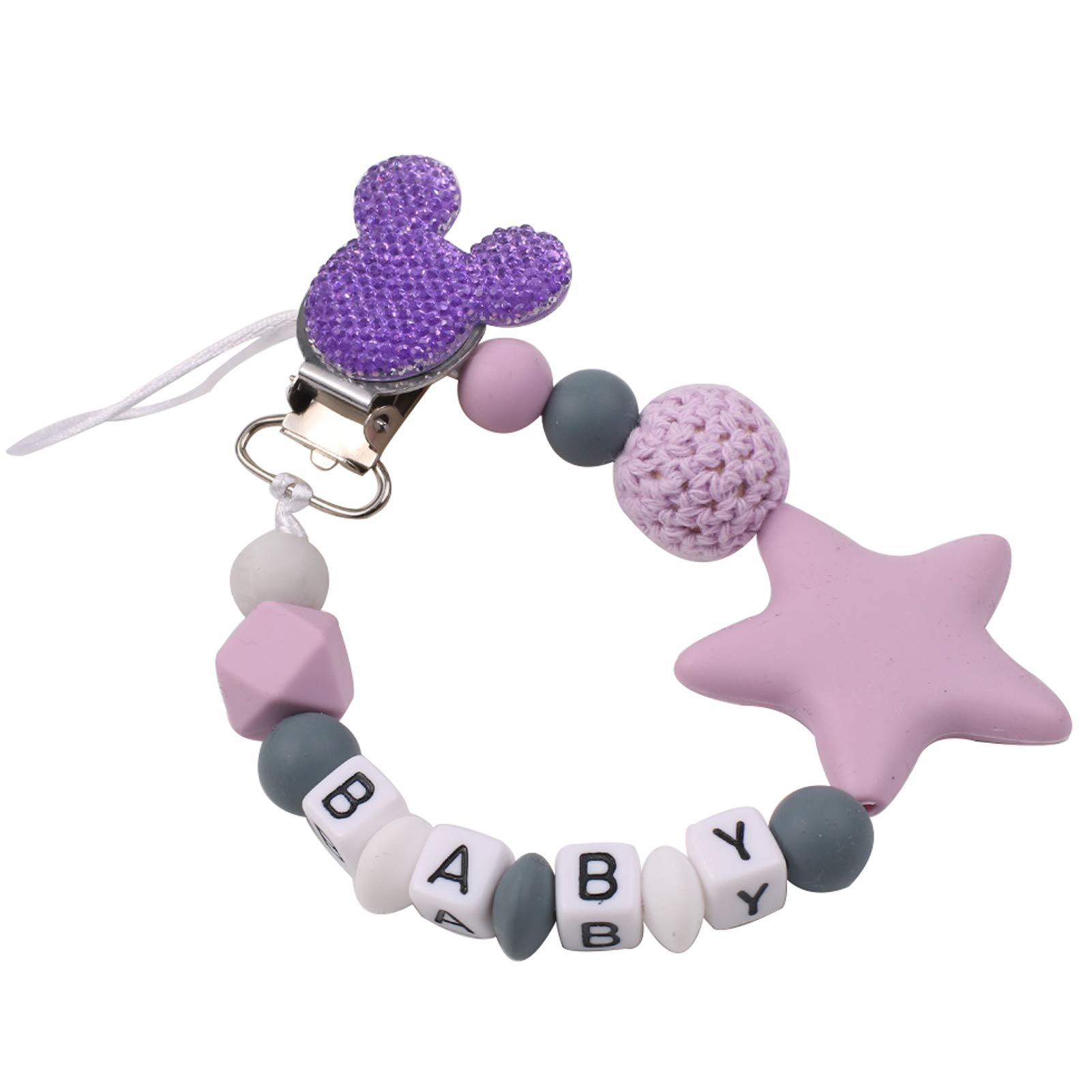 Pacifier Clip with Name Upaluap Silicone Beads Star Soothing Toys Lovey Baby Paci Clip Holder Personalized Name Binky Holder Unique Gift for Newborn Boys & Girls - Purple