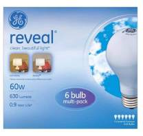 GE 49347 Reveal Soft White 60 Watts A19, 6-Pack