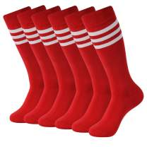 Soccer Socks, SUTTOS Unisex Knee High Triple Stripe Athletic Soccer Football Tube Socks 2/6/10 Pairs