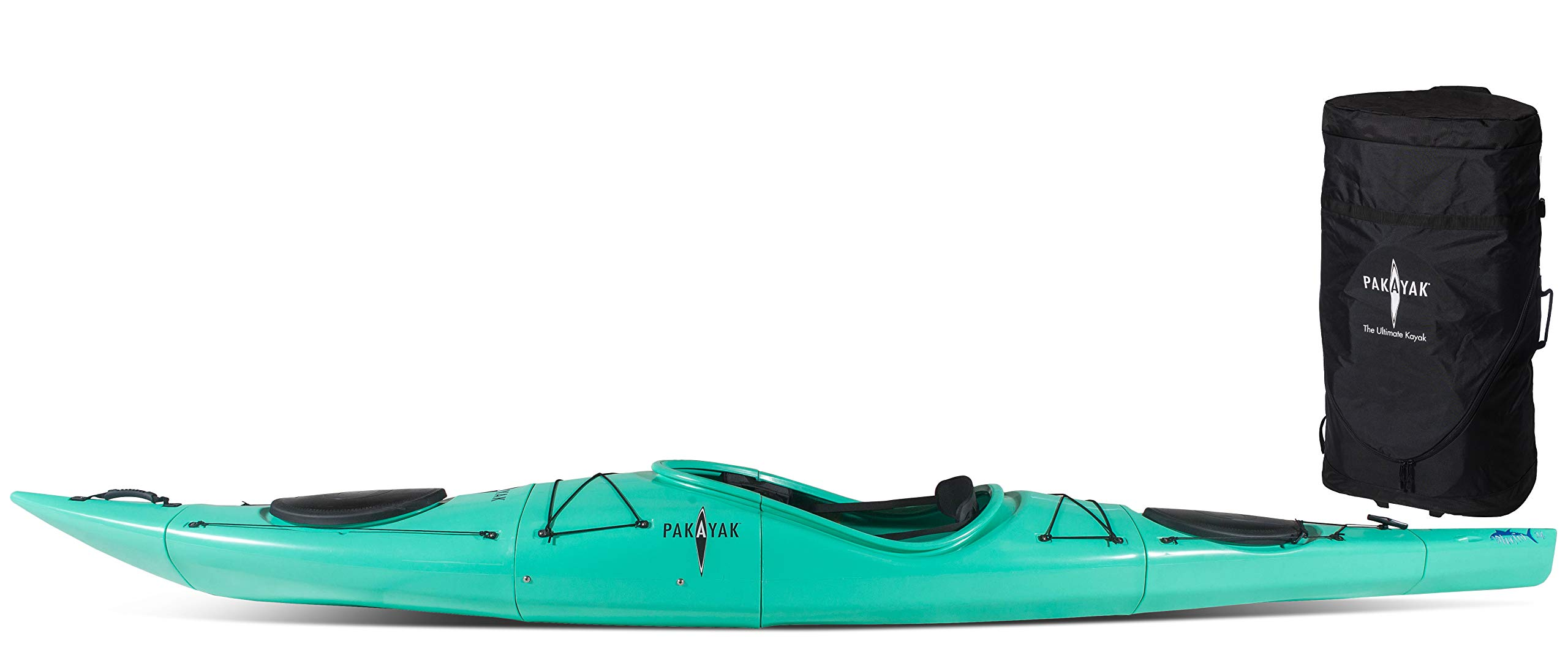 Pakayak Bluefin 14 Ft Kayak, The Only Hardshell Packable Kayak - Packs Down into Included Rolling Bag That Fits Inside of Your Trunk! Nests into Itself for Ultimate Portability and Storage!