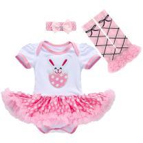 Newborn Baby Toddler Girl 1st Easter Rabbit Romper Tutu Dress+Headband+Leg Warmers Shoes Outfits 3pcs/4pcs Cotton Clothes Set 3pcs Pink Rabbit Bunny 3-6 Months