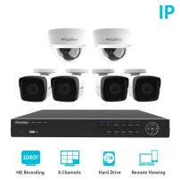 2MP IP Security Camera System, Laview 8 Channel Video NVR Recorder with 2TB Hard Drive, 4 Bullet and 2 Dome 1080p Waterproof IP66 CCTV Indoor/Outdoor Home Surveillance System with 100ft Night Vision
