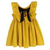 Weixinbuy Baby Girls' Bowknot Ruffles Sleeveless Party Wedding Princess Dresses