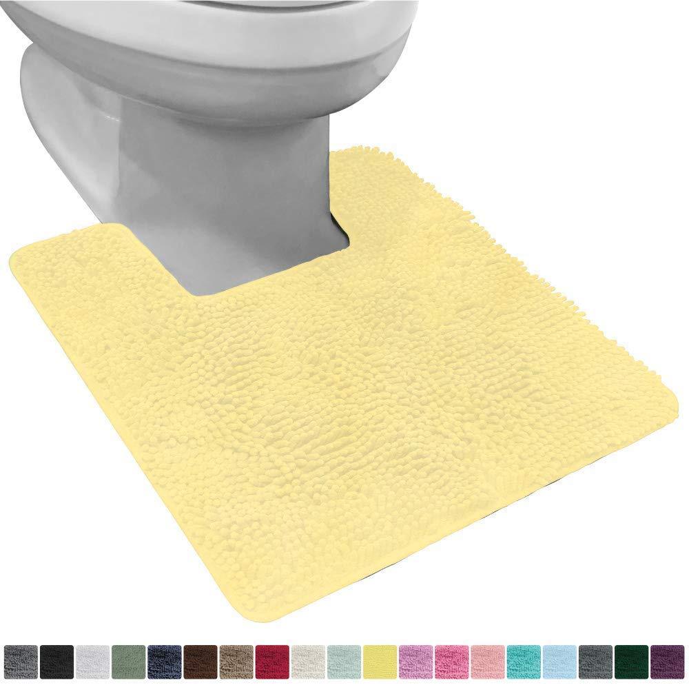 Gorilla Grip Original Shaggy Chenille Square U-Shape Contoured Mat for Base of Toilet, 22.5x19.5 Size, Machine Wash and Dry, Soft Plush Absorbent Contour Carpet Mats for Bathroom Toilets, Yellow