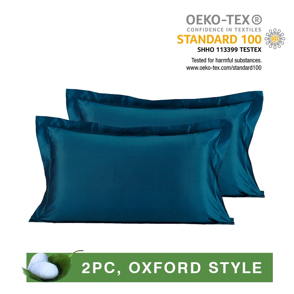 LilySilk Dark Green Silk Pillowcases Pair of 19 Momme Oxford for Hair 100 Real Mulberry Pure Mulberry Silk 2pcs King 20x36