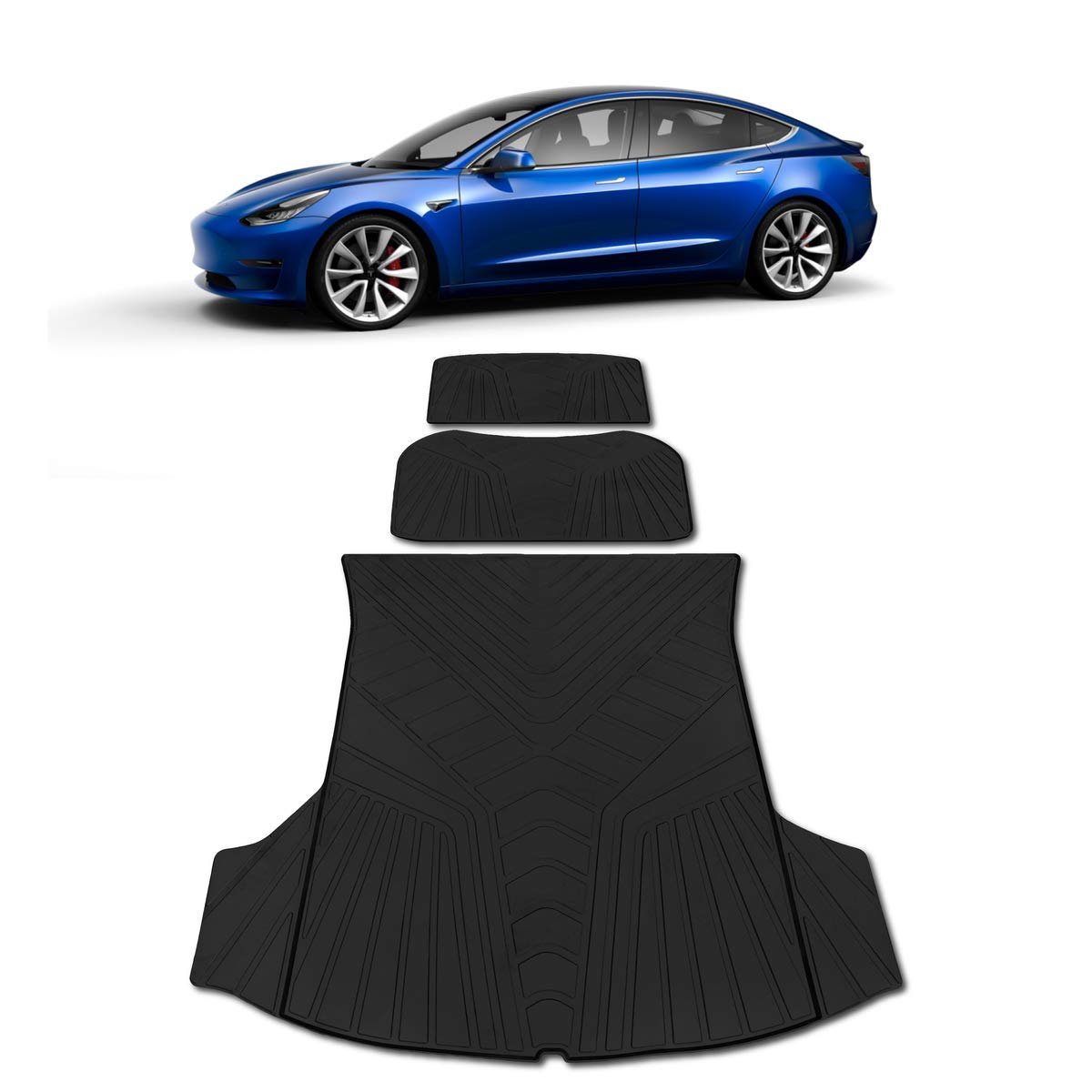 Tesla Model 3 Trunk Frunk Storage Mat - Set of 3 All Weather Waterproof Black Cargo Protection | Fits 2017 2018 2019 2020 | Heavy Duty & Odorless Eco-Friendly Latex Material by HEA USA