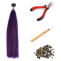 """SARLA Syntheic Feather Hair Extensions For Girl 16"""" 100pcs I-tip Highlight Colored Colorful Hair Extension Hairpieces Hair Piece +150pcs Silicon Micro Ring Beads + 1pc Plier + 1pc Hook(Purple&Tools)"""