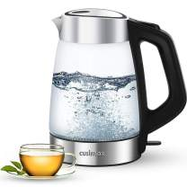 Cusimax Electric Kettle 1.7L BPA-free Hot Water Kettle with Stainless Steel & Glass, Cordless Water Boiler Heater for Tea coffee, Auto Shut-Off & Boil-Dry Protection