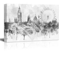 wall26 - Black and White Big Ben and The London Eye with Watercolor Splotches - Canvas Art Home Decor - 24x36 inches