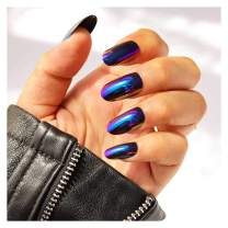 Yokawe 24Pcs Glossy Fake Nails Punk Mirror Reflection Full Cover Acrylic False Nails Blue Purple Oval Party Prom Night Club Press Clip on Nails for Women and Girls