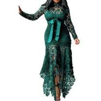 VERWIN Hollow Floor-Length Lace-Up Asymmetrical Women's Maxi Dress Sexy Lace Dress Party Evening Dress