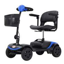 Ultra Compact Mobility Scooter with Folding Tiller, Electric Scooter for Seniors and Adults, Great Portability for Travel, 12 Ah Battery, 4 Wheel (Blue)