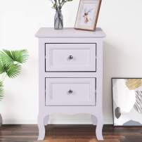 SSLine Wood Nightstand with 2-Drawer White Finish Bedside End Table Sofa Chair Side Tables for Bedroom Living Room Storage Organizer