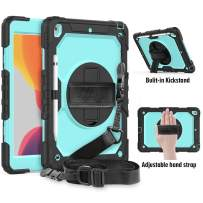 FANSONG iPad 10.2 Case 2019 with Pencil Holder, iPad 7th Generation Case Heavy Duty with Built-in Screen Protector Full-Body Rugged Protective Cover
