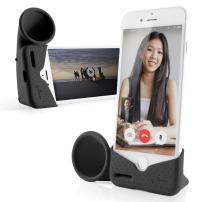 Bone Collection Acoustic Sound Amplifier Phone Stand Audio Dock Portable Speaker Desktop Cradle Holder for iPhone 8 7 6 6s ONLY, Horn Stand Series - Black (Small)